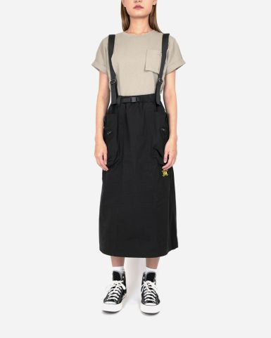 立體口袋吊帶中長度半截裙