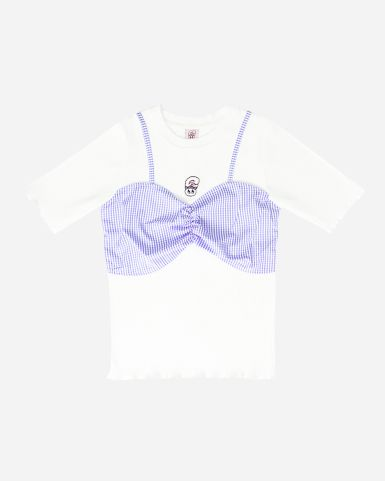 Esther Bunny 梭織紫白色格仔拼白色羅紋彈性布圓領假兩件